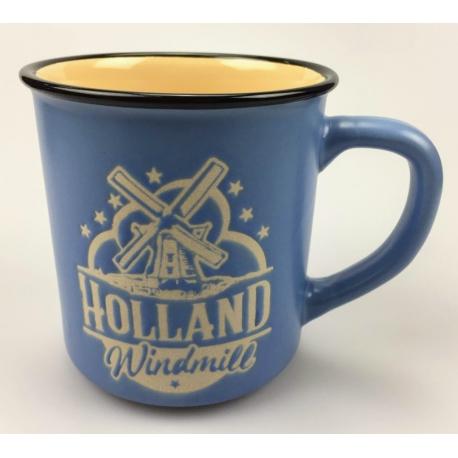 Mok Holland Molen Blauw