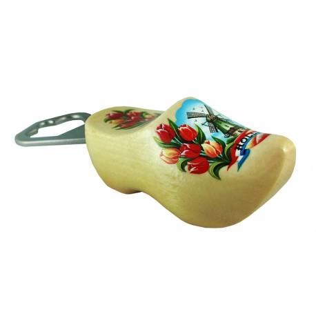 Flesopener klompje Blank gelakt met tulpen en molen