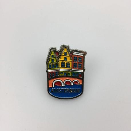 Pin huisjes Amsterdam zilver