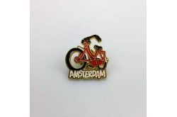 Pin fiets rood Amsterdam goud