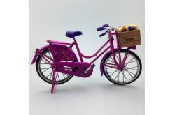 Miniatuur fiets roze met tulpen 23 x 13 cm