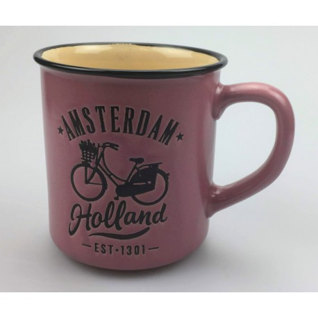 Mok Amsterdam Holland Fiets Roze