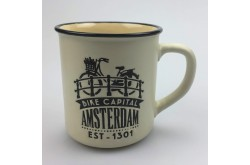 Campmug - Mok Amsterdam Fiets op brug Creme incl. kadoverpakking
