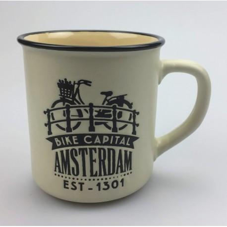 Mok Amsterdam Fiets op brug Creme