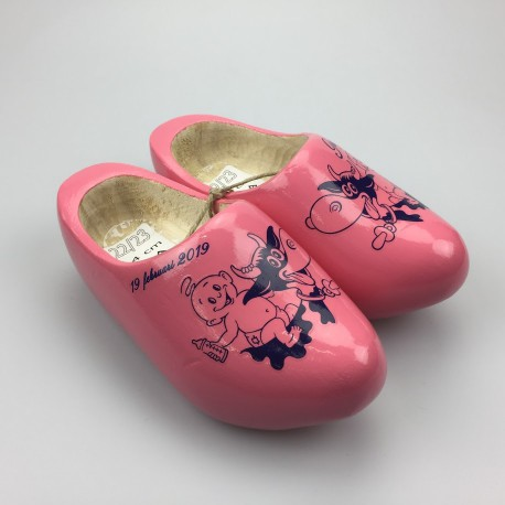 [Geboorte] klompjes met naam roze met koe-decor