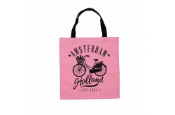 Tas katoen fiets Amsterdam Holland roze