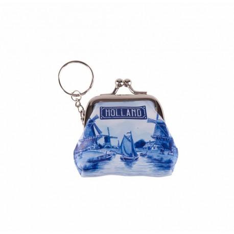 Sleutelhanger portemonnee klein Holland delftsblauw