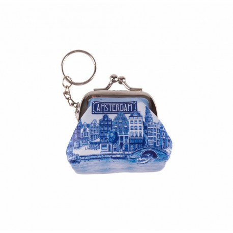 Sleutelhanger portemonnee klein Amsterdam delftsblauw