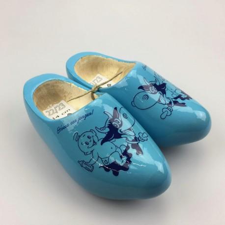 [Geboorte] klompjes met naam licht-blauw met koe-decor