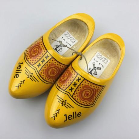 [Geboorte] klompjes met naam transparant geel 22-23