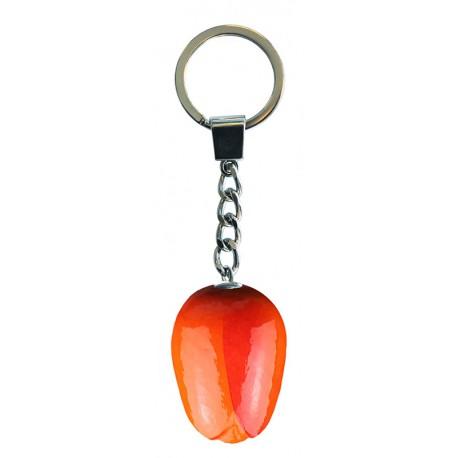 10 stuks Sleutelhanger met tulpje van 3.5 cm Oranje Rood