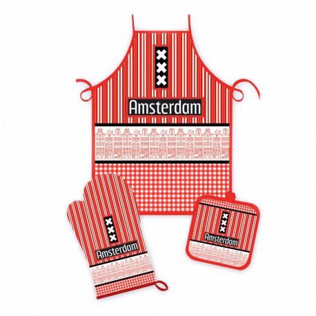 3 delige Keukenset Amsterdam gevels rood/zwart