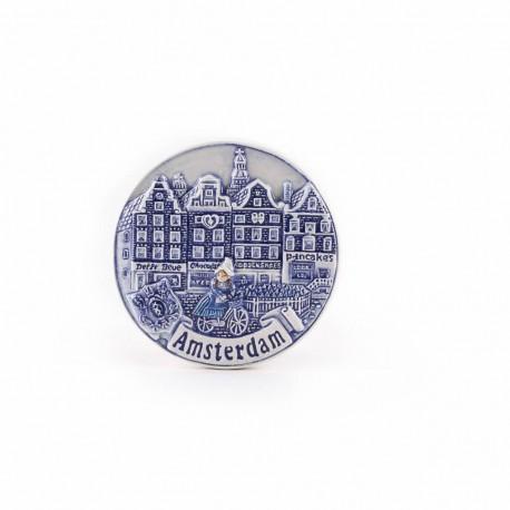 Magneet gracht rond delftsblauw Amsterdam