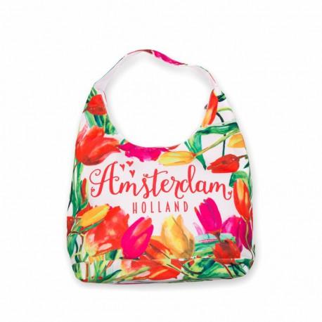 Schoudertas Amsterdam tulpen multicolor