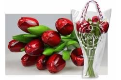 Boeket van 9 houten tulpen van 34 cm Red Aubergine