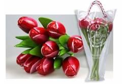 Boeket van 9 houten tulpen van 34 cm Red White