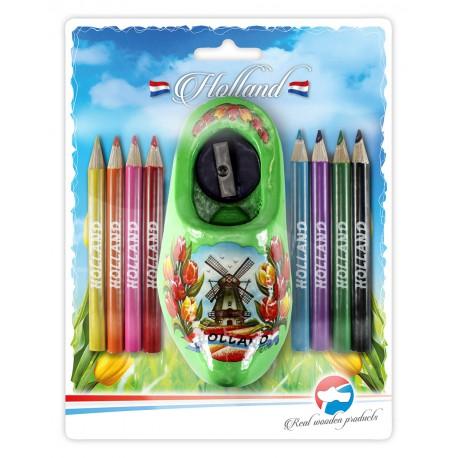 Puntenslijper Groen Molen Tulp + Potloodjes in blisterverpakking