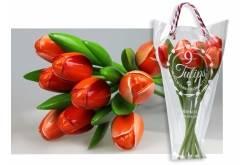 Boeket van 9 houten tulpen van 34 cm Orange