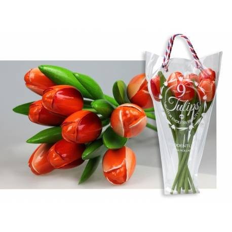 Boeket van 9 houten tulpen Orange