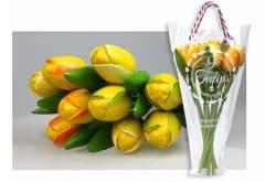 Boeket van 9 houten tulpen van 34 cm Yellow
