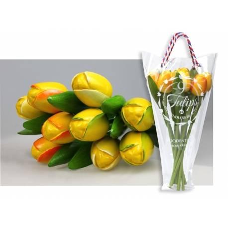 Boeket van 9 houten tulpen Yellow