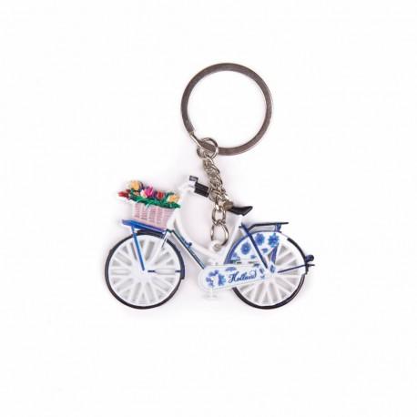 Sleutelhanger fiets delftsblauw met tulpen