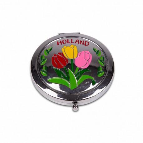 Spiegeldoosje tulpen kleur Holland shiny zilver