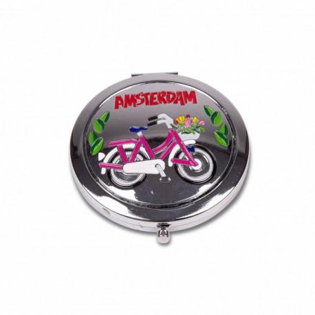 Spiegeldoosje fiets kleur Amsterdam shiny zilver