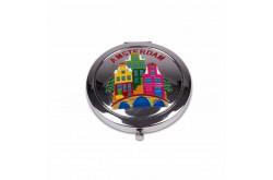 Spiegeldoosje gracht kleur Amsterdam shiny zilver