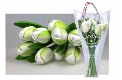 Boeket van 9 houten tulpen White