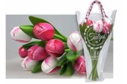 Boeket van 9 houten tulpen van 34 cm Pink & White