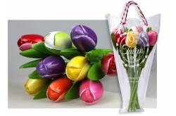 Boeket van 9 houten tulpen Multi Color 2