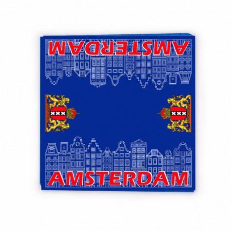 20 x Servetten blauw huisjes Amsterdam