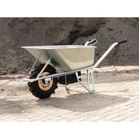 Elektrische kruiwagen met 100 liter 1,2 mm stalen bak