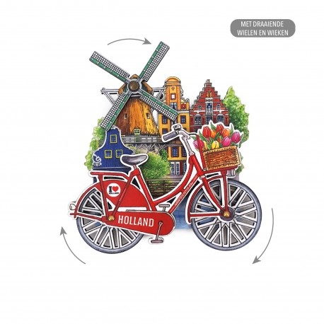 MDF Holland molen fiets in kleur draaiende wielen