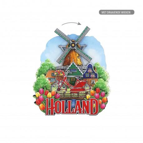 MDF Holland fiets molen met draaiende wiek