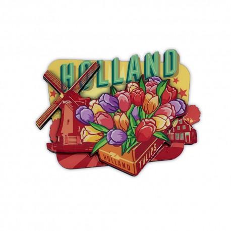 MDF magneet vintage Holland tulpen