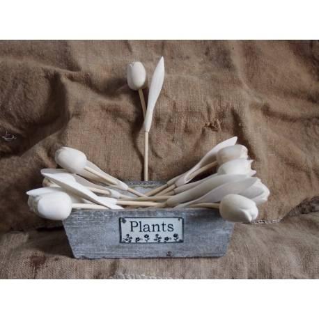 Houten tulp op steel met blad blank hout - 34 cm