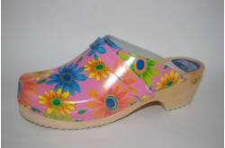 Hippe lederen damesklompen | open hiel Flower Power
