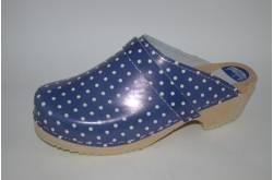 Hippe lederen damesklompen | open hiel blauw-wit stip