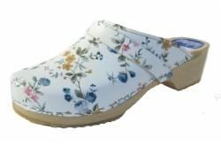 Hippe lederen damesklompen | open hiel wit bloem