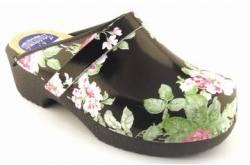 Hippe lederen damesklompen | open hiel zwart bloem