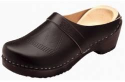 Schippersklompen zwart leder met GRATIS sokken