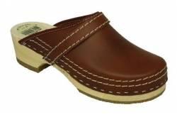 Simson lederen klompen licht bruin open hiel + GRATIS sokken