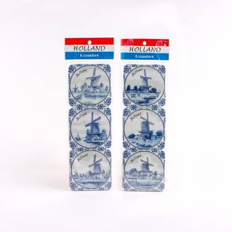 Set van 6 kurk onderzetters delftsblauw | 5478