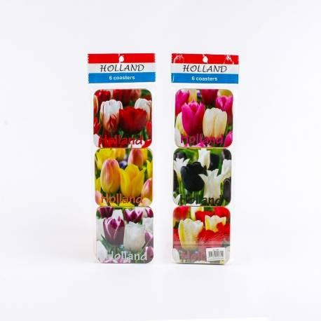Set van 6 kurk onderzetters met tulpen | 5482