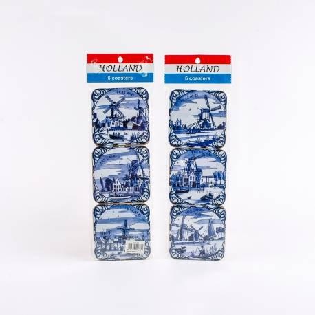 Set van 6 kurk onderzetters Delftsblauwe Molens | 5480