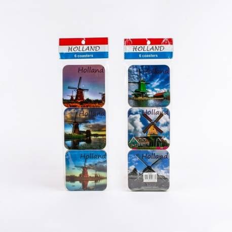 Set van 6 kurk onderzetters met full colour Hollandse Molens | 5483