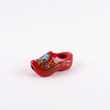 Dasklompje van 7 cm Rood + molendecor/bloemetjes