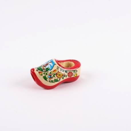 Dasklompje van 7 cm Rode zool + molendecor/bloemetjes